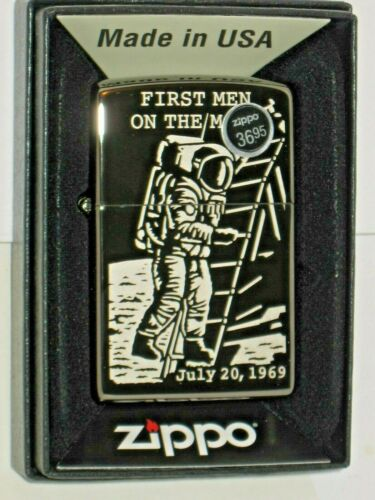 New Zippo USA Windproof Lighter 80690 First Men on the Moon Engraved Black Ice