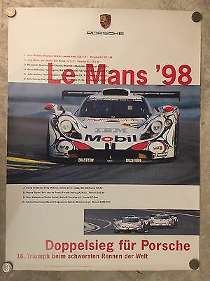 1998 Porsche Le Mans Victory Showroom Advertising Sales Poster RARE!! Awesome