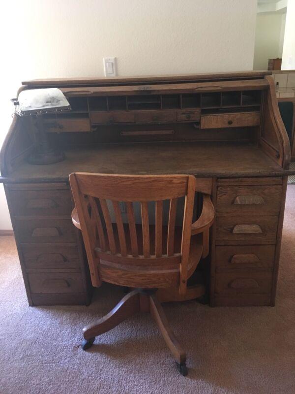 Antique Solid Oak Roll Top Desk, Chair, Lamp