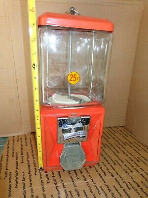 VINTAGE 25¢ Cent Gumball Machine with Northwestern Square Glass w/Key  A&A Mach.