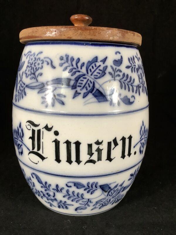 Vintage German Porcelain Blue Onion Canister Wooden Lid Linsen Lentils Annaburg