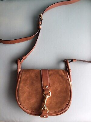 Michael Kors 100% Authentic Jamie Saddle Bag Tan Brown Suede Leather Crossbody