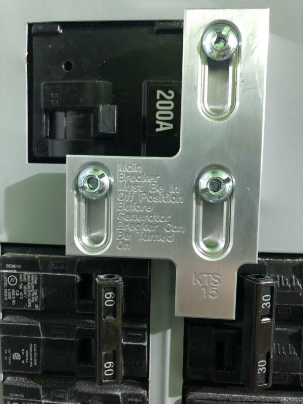 Generator Interlock Kit , Siemens 200 Amp Panel Murray 200 Amp Panel