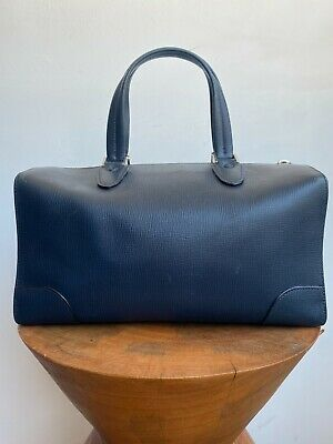 VALEXTRA N 332471 Boston Navy Epi Navy Blue Leather Top Handle Duffle Purse Bag