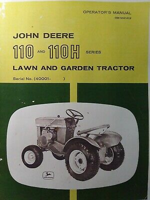 John Deere 110 Round Fender Lawn Garden Tractor Owners Parts Manual 40000-up