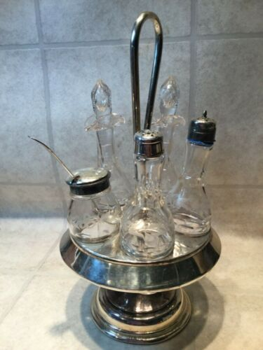 ANTIQUE SILVER PLATE CONDIMENT CADDY GLASS BOTTLE SET CRUET VICTORIAN