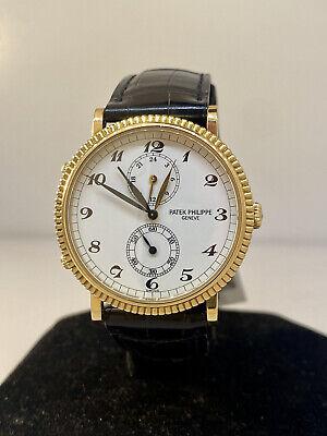 Patek Philippe Calatrava Travel Time Yellow Gold White Dial Men's Watch 5034J