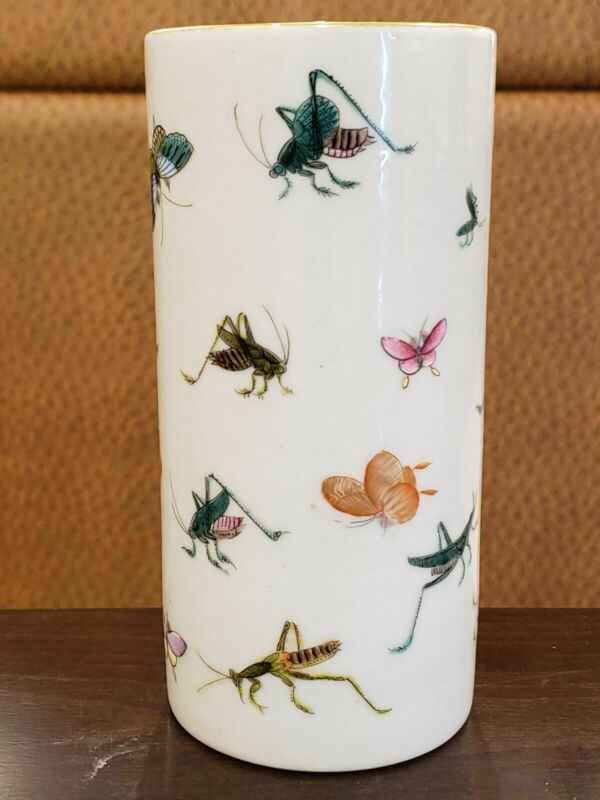 Chinese Hand painted Families Rose Porcelain Pen Brush  Marked(Insect Pattern)