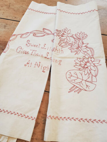 PAIR Antique VICTORIAN Red Work Embroidered Pillow Layover Shams LILY floral
