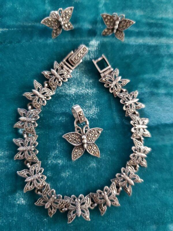 Sterling Silver Butterfly Marcasite Set - bracelet, pierced earrings & pendant