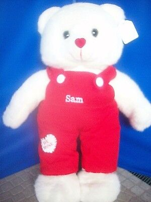 VALENTINE White Plush Teddy Bear BOY NAMED SAM Heart-Shaped Nose Gift NEW!