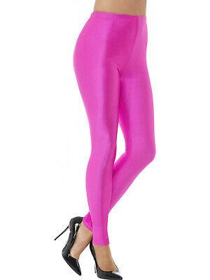 Lycra Spandex Leggings (Neon Uv Pink Spandex 80's Disco Dance Cyber Rave Lycra Leggings Tutu Fancy Dress)
