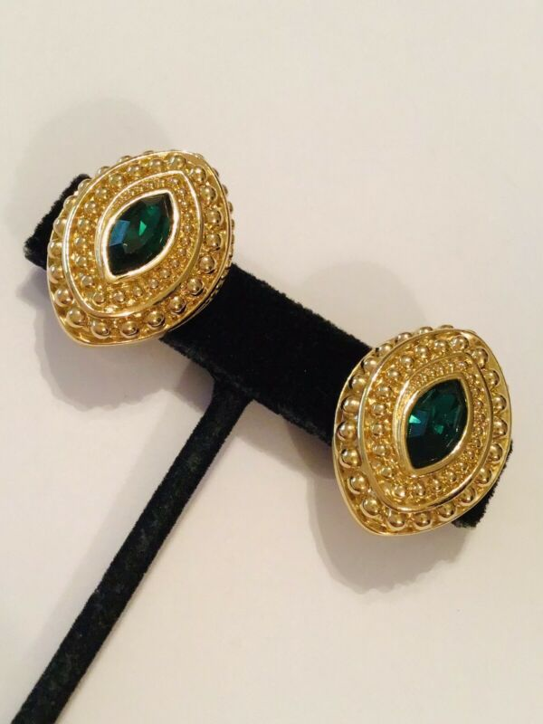 Swarovski Swan Signed Gold Tone with Emerald Green Crystal Clip On Earrings