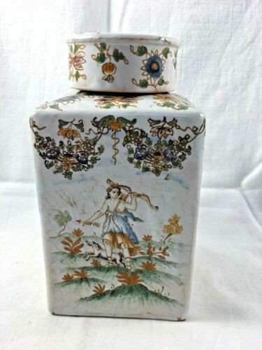 French Faience Tea Caddy, Moustier 19th Century, Hand Painted, France