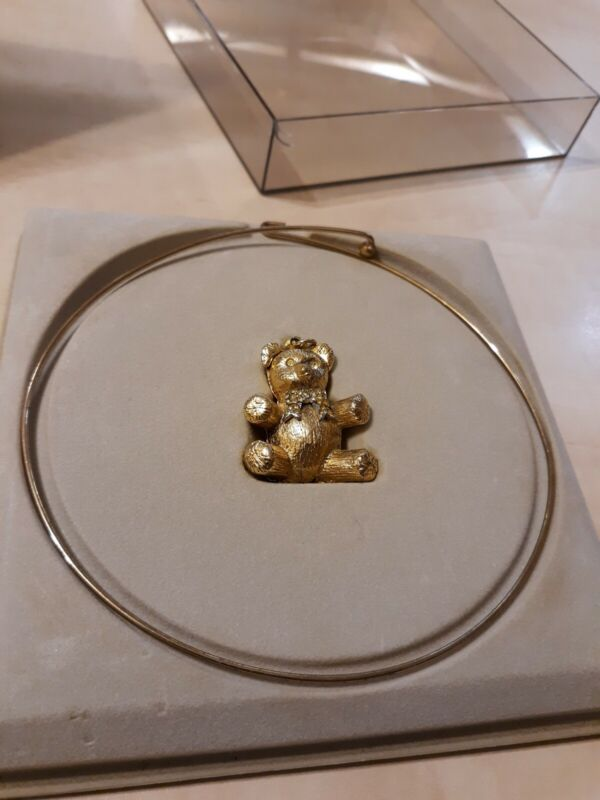 Vintage MAX FACTOR Aquarius Solid Perfume Teddy Bear Compact On Choker—NIB