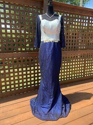 Homemade Mermaid Halloween Costume (Vtg 80s Sequin Blue Mermaid Dress Home Made Medium - Large Halloween)