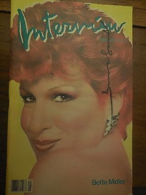 ANDY WARHOL SIGNED INTERVIEW MAGAZINE 1982 BETTE MIDLER COVER MINT