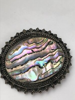 Vintage .950 Jerusalem Abalone Pearl Brooch Pin