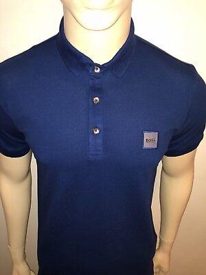 "MENS HUGO BOSS ORANGE Pavlik Polo Shirt Blue SIZE LARGE 42""CHEST"