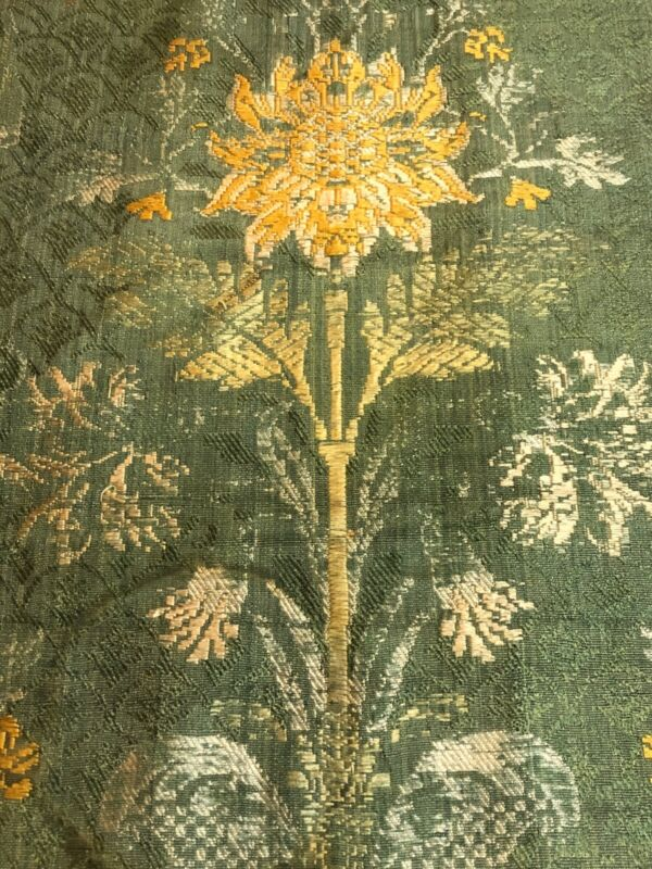 """Vintage Antique Tapestry Damask Green c 1900 80"""" length wall hanging Museum"""