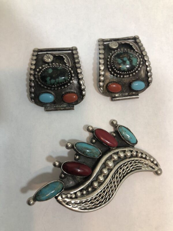 Sterling Silver Mexico Watch Tips & Vintage Taxco Pendant Scarf Loop