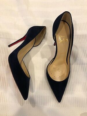 Christian Louboutin Navy Blue Suede D'Orsay 100mm Pumps size 38