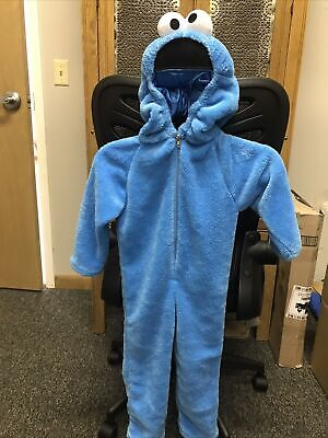 Cookie Monster Deluxe Two-Sided Plush Jumpsuit Halloween Costume -Medium (3T-4T)