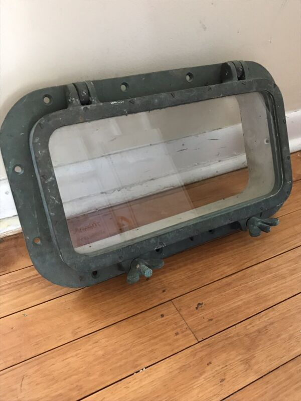 "Antique Porthole Bronze Brass 17"" Rectangular Window - Good Condition"