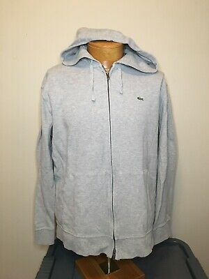 Lacoste Full Zip Hooded Jacket Gray Cotton Men's Size 7 XL