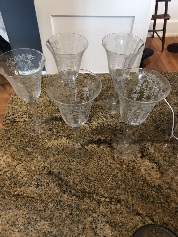 Fostoria Glass  TALL GOBLETS - Set of 5