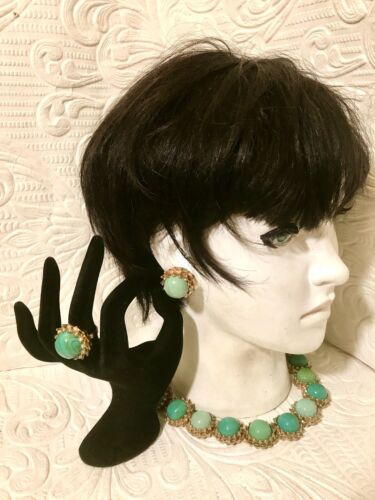 Vintage Gold Tone & Faux Turquoise Cabochon Parure Necklace Ring Earrings 1960