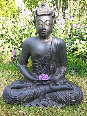 Großer XL Buddha sitzend Lavastein ca. 60 cm Figur Feng Shui Skulptur Lotus Asia