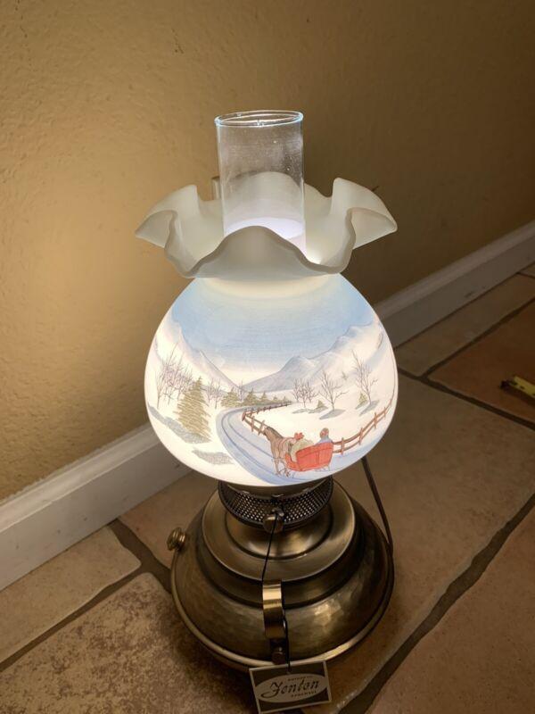Fenton Art Glass Skaters Lamp Christmas 1980 Going Home Signed #2