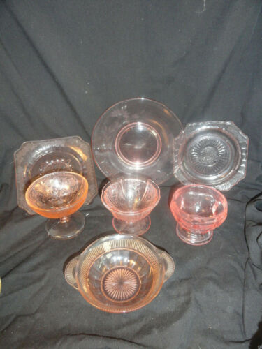 7 Pcs Pink Depression Glass Lot Assorted Patterns Pieces AS IS