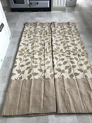 John Lewis Designer Fabric Eyelet Made To Measure Gold And Beige Lined Curtains ()
