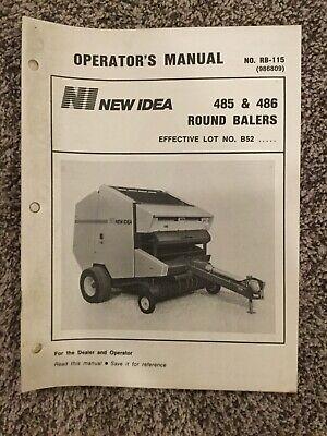New Idea 485 486 Round Balers Operators Manual Rb-115 986809