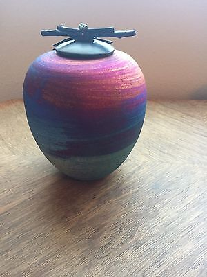 GORGEOUS RAKU POTTERYWORKS LARGE DREAM JAR ONE OF A KIND SIGNED BY THE ARTIST