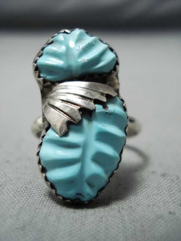 MARVELOUS ZUNI CARVED TURQUOISE STERLING SILVER RING NATIVE AMERICAN