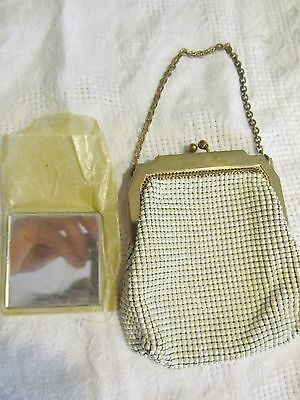 Vintage Whiting & Davis Gold White Mesh Beaded Handbag Purse with mirror WIN