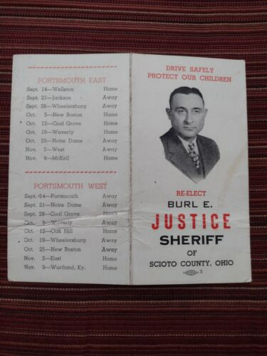 1956 BURL JUSTICE for SHERIFF CAMPAIGN AD H S FOOTBALL SCHEDULE PORTSMOUTH OHIO