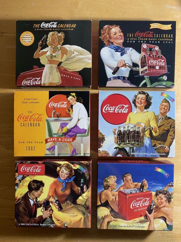 Lot Of 6 Coca Cola Desk Calendars Vintage (2000 2001 2002 2003 2004 2005) New