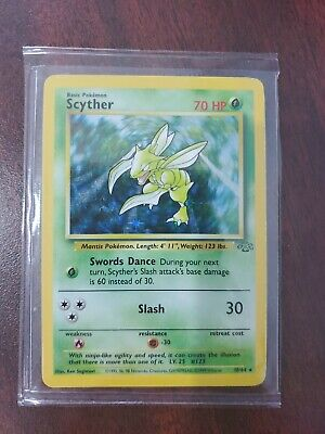 RARE FIRST EDITION SCYTHER POKEMON CARD HOLO JUNGLE SET 10/64 1ST ED COLLECTION