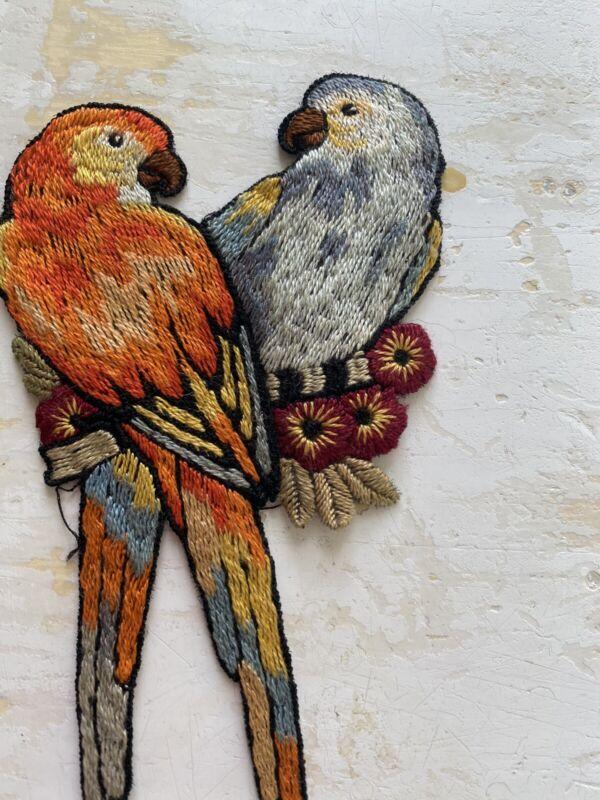 Pair Antique 1920's Embellishments Applique Parrots Satin Stitched Embroidery