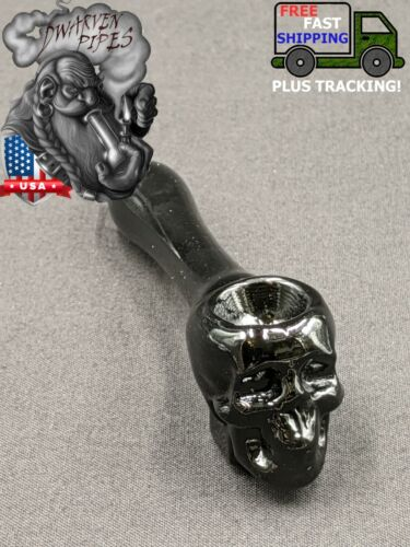"4"" Tobacco Smoking Pipe Bowl Glass Hand Pipe Skull Onyx"