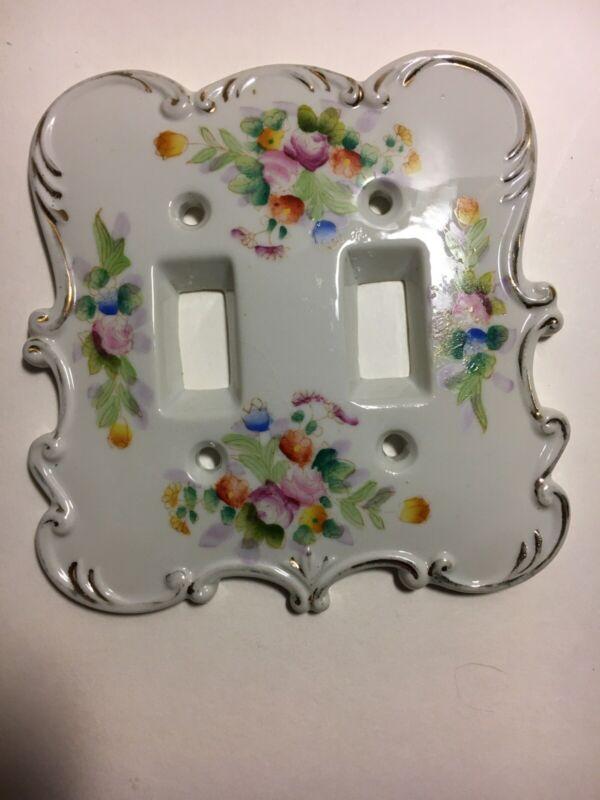 Original Arnart Double Switch Cover Plate Porcelain Japan Floral