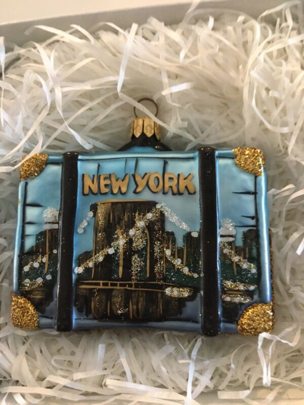 New York USA Travel Suitcase Polish Glass Christmas Ornament ONE Tree Decoration