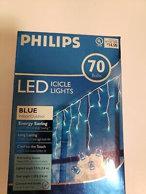 70 Philips LED Blue Mini Icicle Christmas LIghts indoor/outdoor