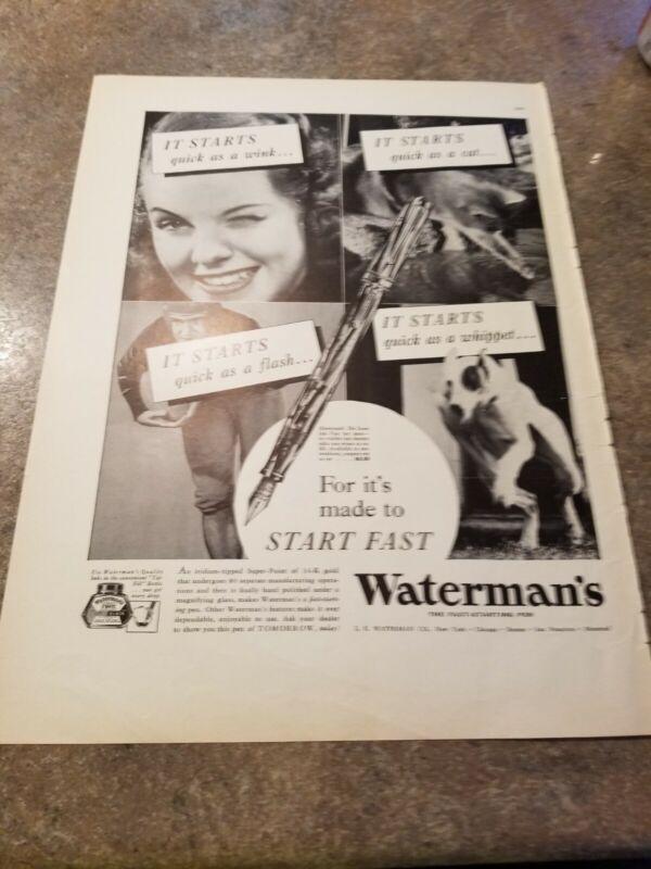 1937 Vintage Print Ad Watermans Fast Starting Pen