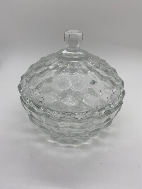 Vintage Clear Indiana Glass Covered Candy Dish Whitehall Cubist American Exc