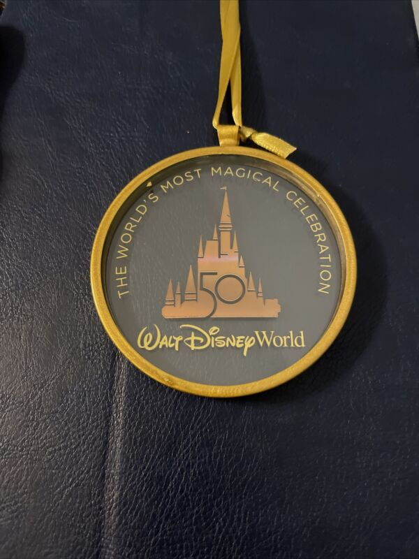 Walt Disney World 50th Anniv Glass Ornament World's Most Magical Celebration